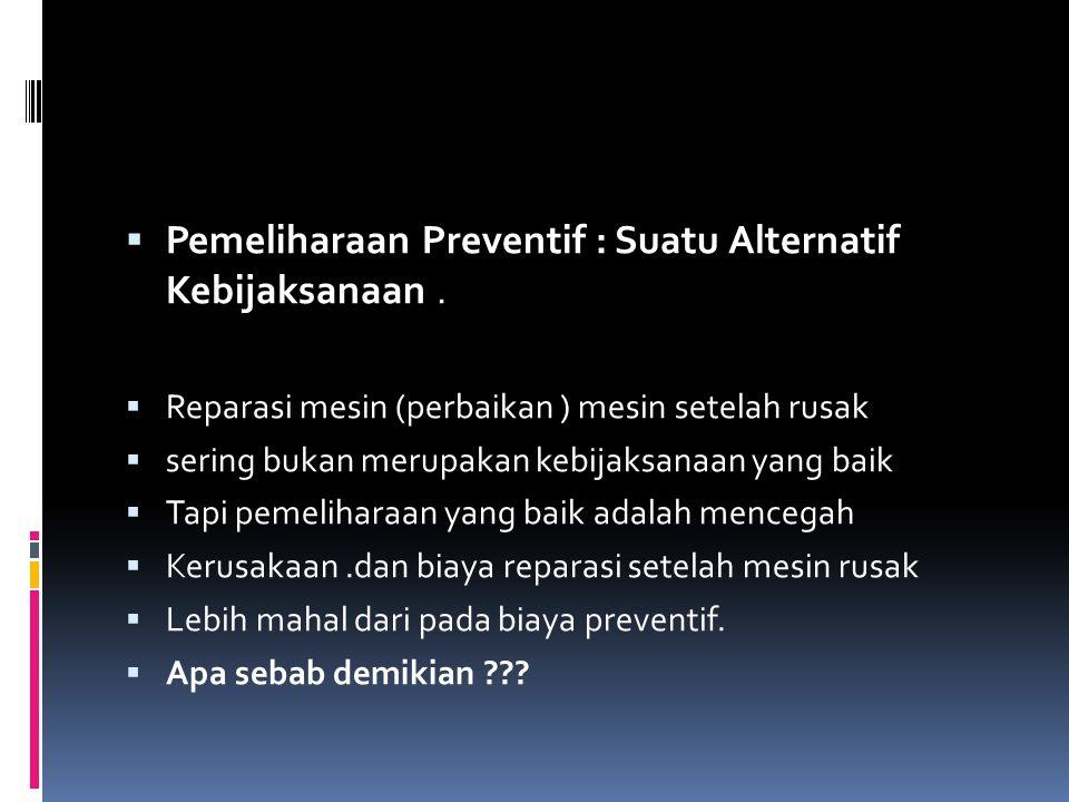  Pemeliharaan Preventif : Suatu Alternatif Kebijaksanaan.  Reparasi mesin (perbaikan ) mesin setelah rusak  sering bukan merupakan kebijaksanaan ya
