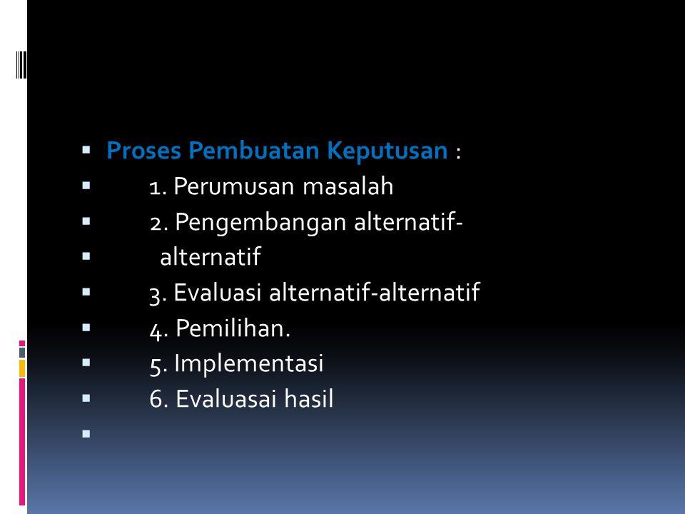  Proses Pembuatan Keputusan :  1. Perumusan masalah  2. Pengembangan alternatif-  alternatif  3. Evaluasi alternatif-alternatif  4. Pemilihan. 