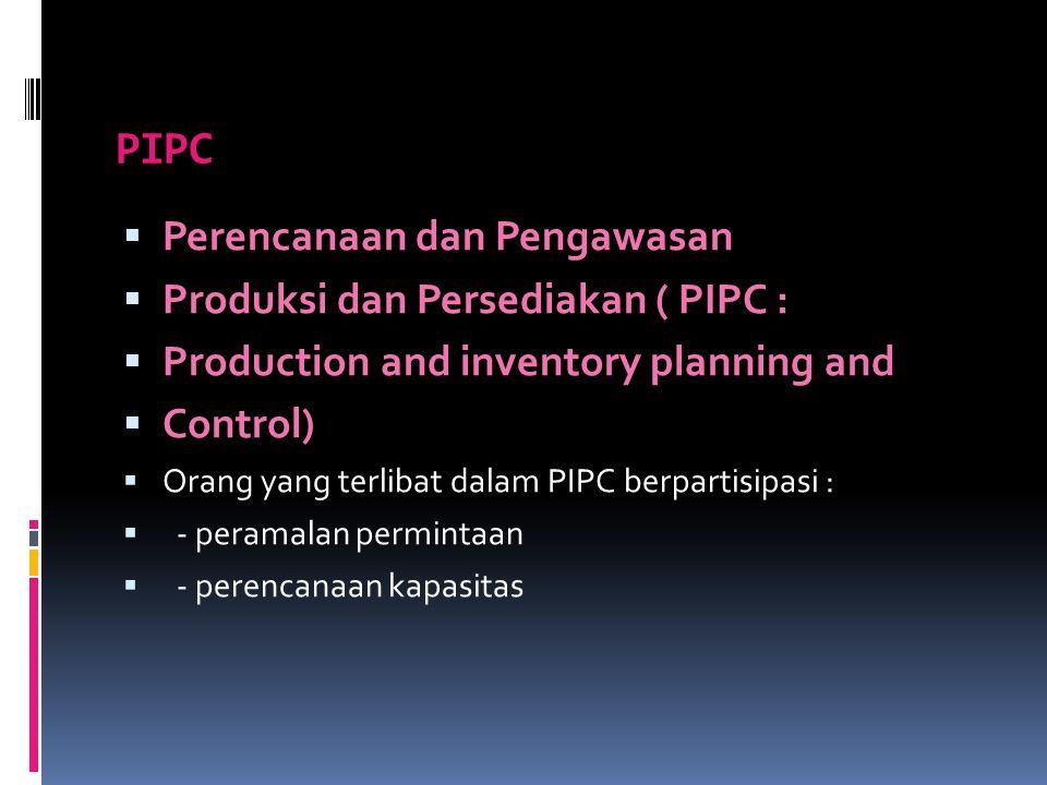 PIPC  Perencanaan dan Pengawasan  Produksi dan Persediakan ( PIPC :  Production and inventory planning and  Control)  Orang yang terlibat dalam P