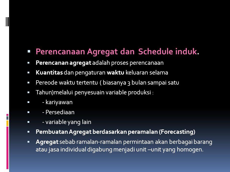  Perencanaan Agregat dan Schedule induk.  Perencanan agregat adalah proses perencanaan  Kuantitas dan pengaturan waktu keluaran selama  Pereode wa
