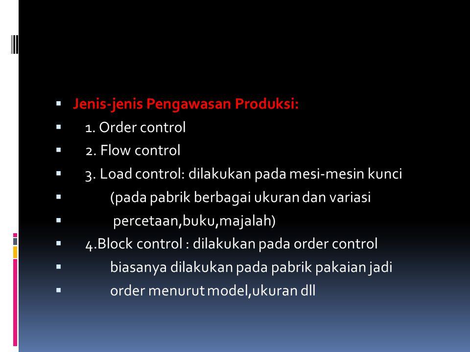  Jenis-jenis Pengawasan Produksi:  1. Order control  2. Flow control  3. Load control: dilakukan pada mesi-mesin kunci  (pada pabrik berbagai uku