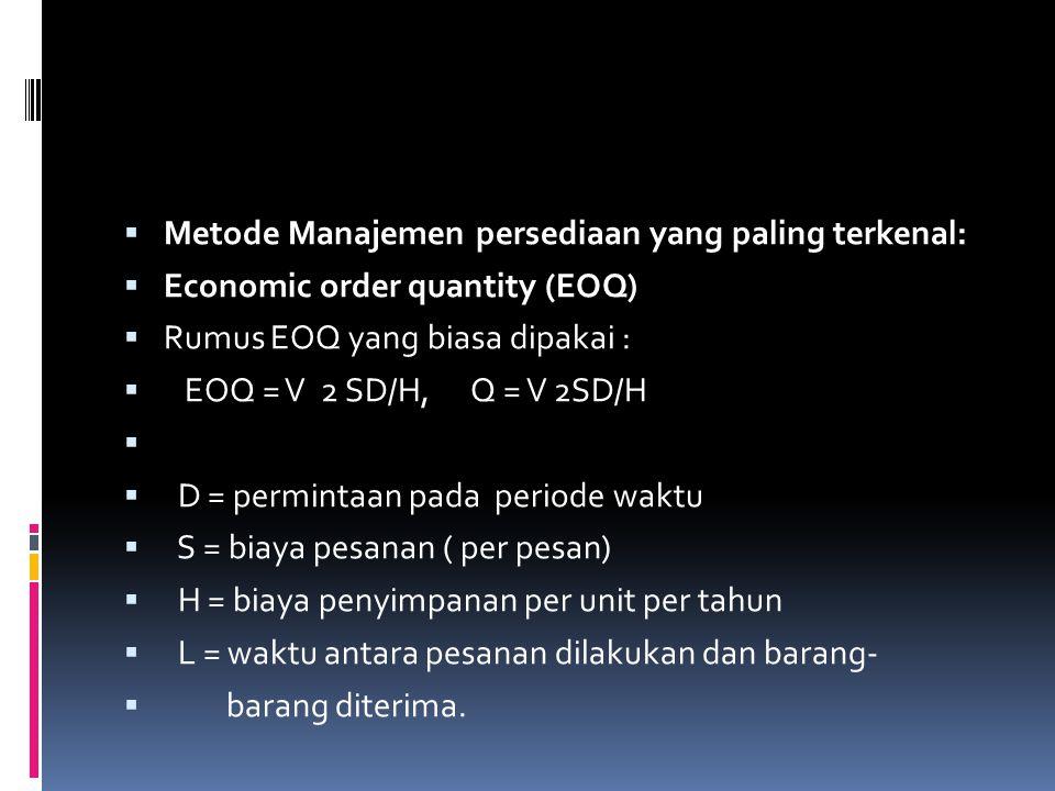  Metode Manajemen persediaan yang paling terkenal:  Economic order quantity (EOQ)  Rumus EOQ yang biasa dipakai :  EOQ = V 2 SD/H, Q = V 2SD/H  