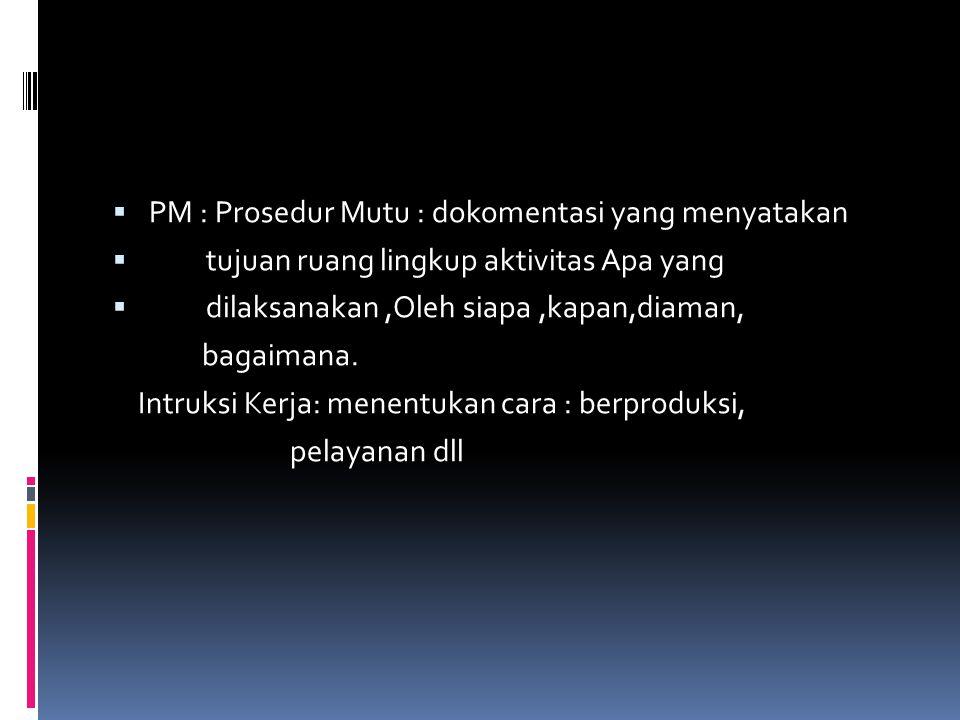  PM : Prosedur Mutu : dokomentasi yang menyatakan  tujuan ruang lingkup aktivitas Apa yang  dilaksanakan,Oleh siapa,kapan,diaman, bagaimana. Intruk