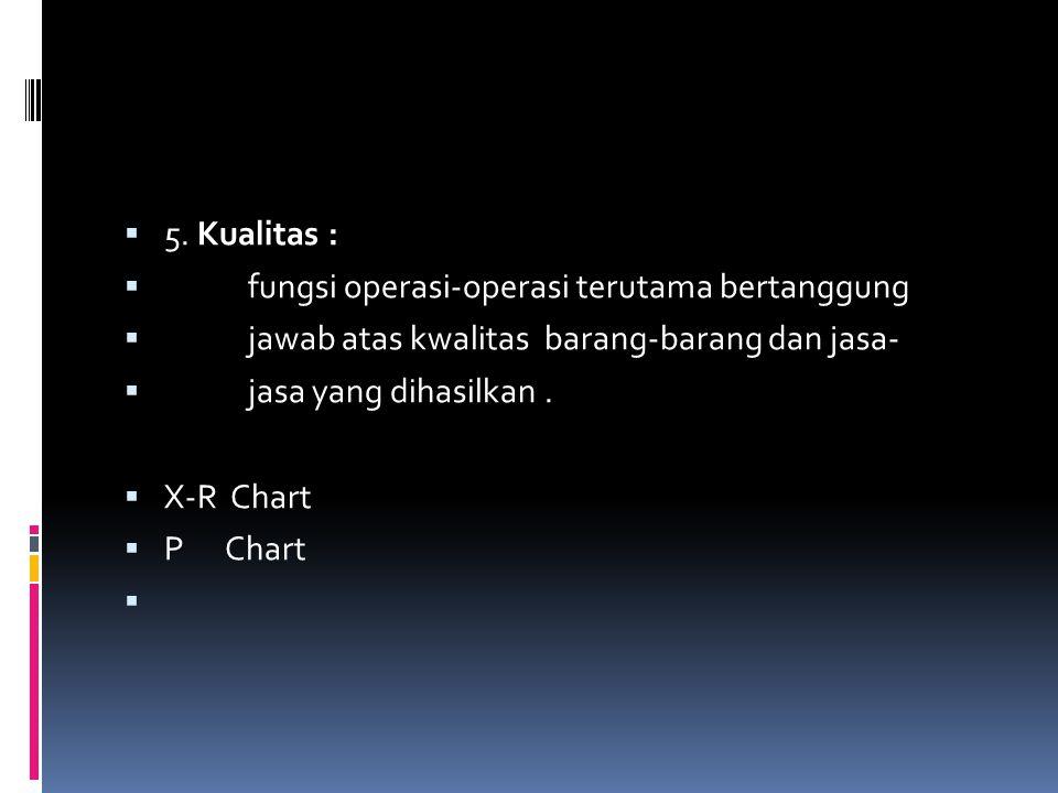  5. Kualitas :  fungsi operasi-operasi terutama bertanggung  jawab atas kwalitas barang-barang dan jasa-  jasa yang dihasilkan.  X-R Chart  P Ch