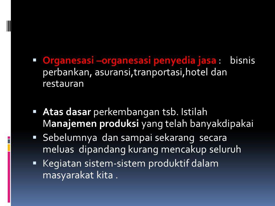  Organesasi –organesasi penyedia jasa : bisnis perbankan, asuransi,tranportasi,hotel dan restauran  Atas dasar perkembangan tsb. Istilah Manajemen p