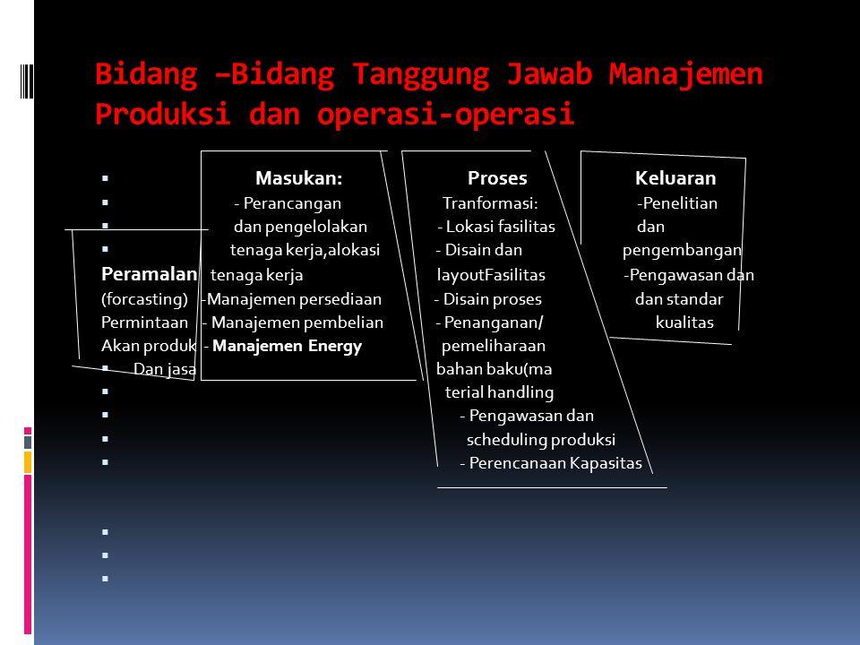 Bidang –Bidang Tanggung Jawab Manajemen Produksi dan operasi-operasi  Masukan: Proses Keluaran  - Perancangan Tranformasi: -Penelitian  dan pengelo