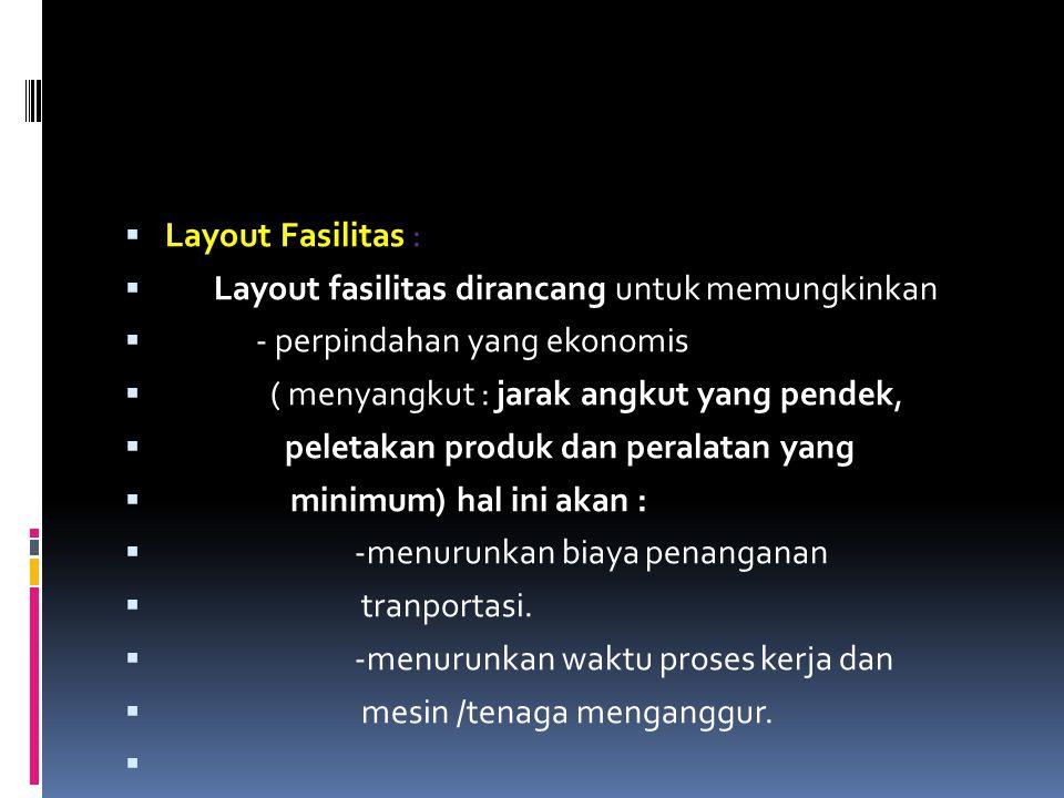  Layout Fasilitas :  Layout fasilitas dirancang untuk memungkinkan  - perpindahan yang ekonomis  ( menyangkut : jarak angkut yang pendek,  peleta