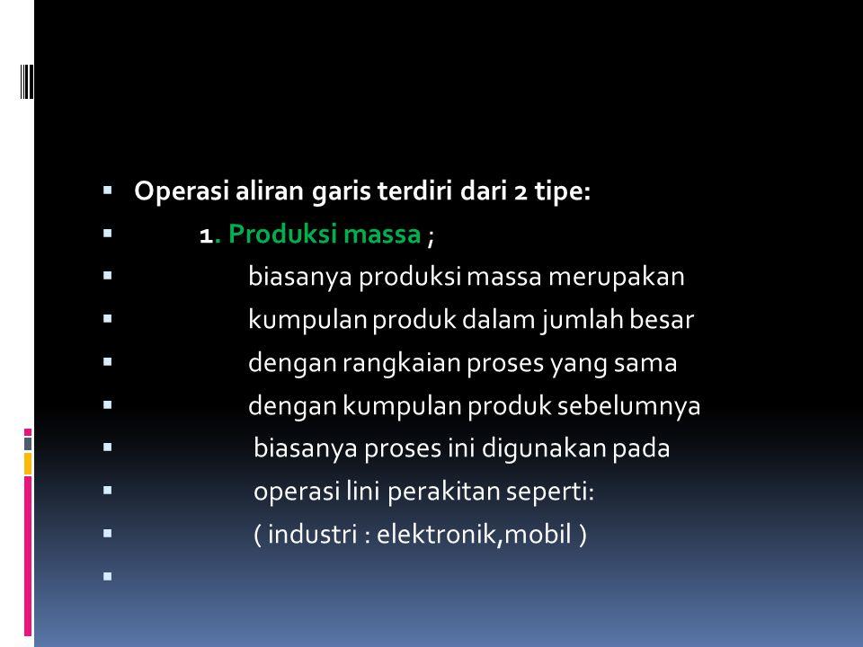  Operasi aliran garis terdiri dari 2 tipe:  1. Produksi massa ;  biasanya produksi massa merupakan  kumpulan produk dalam jumlah besar  dengan ra