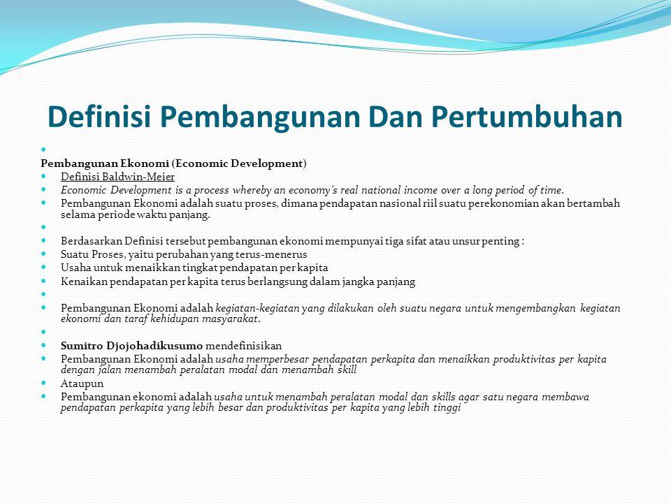 Definisi Pembangunan Dan Pertumbuhan Pembangunan Ekonomi (Economic Development) Definisi Baldwin-Meier Economic Development is a process whereby an ec