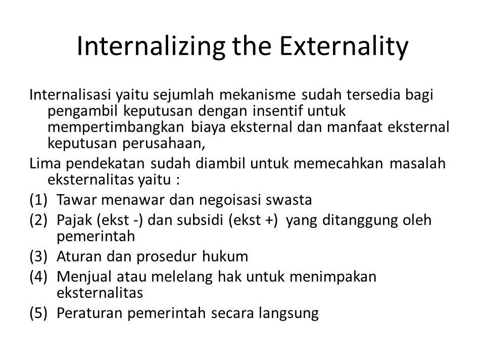 Internalizing the Externality Internalisasi yaitu sejumlah mekanisme sudah tersedia bagi pengambil keputusan dengan insentif untuk mempertimbangkan bi