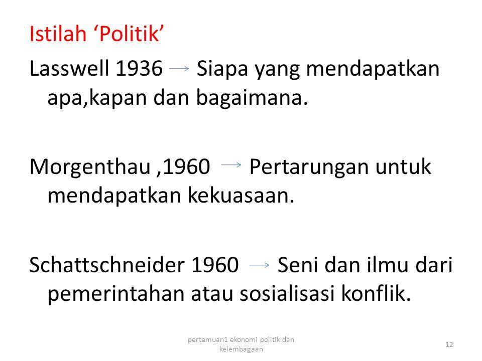 Istilah 'Politik' Lasswell 1936 Siapa yang mendapatkan apa,kapan dan bagaimana.
