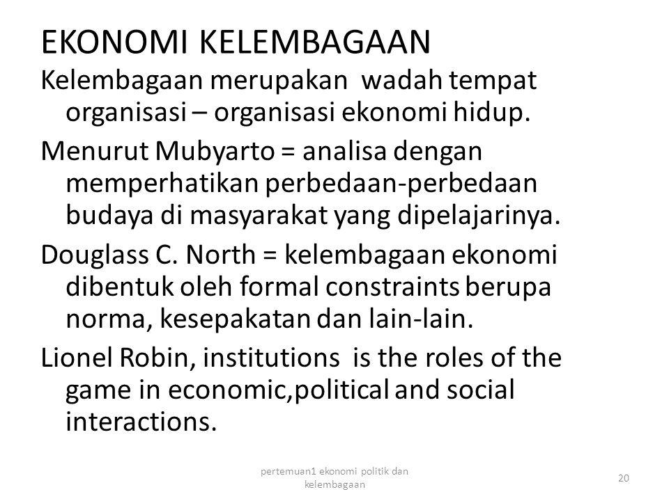 EKONOMI KELEMBAGAAN Kelembagaan merupakan wadah tempat organisasi – organisasi ekonomi hidup.