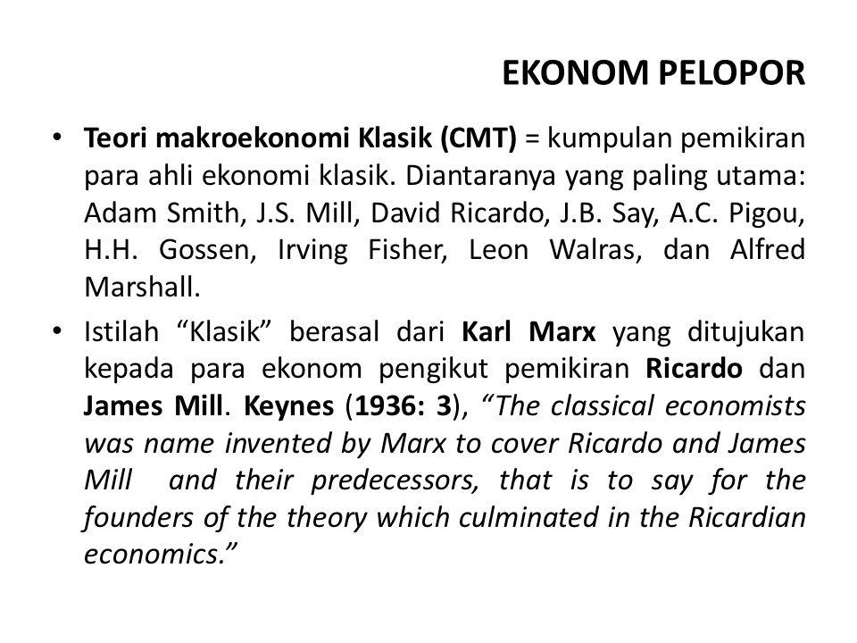 ASUMSI Perekonomian menganut sistem ekonomi leissez faire, laissez passer (sistem ekonomi kapitalis murni).