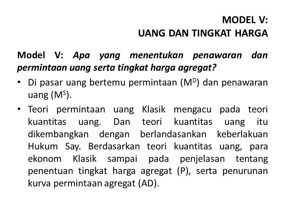 Model V: Apa yang menentukan penawaran dan permintaan uang serta tingkat harga agregat.
