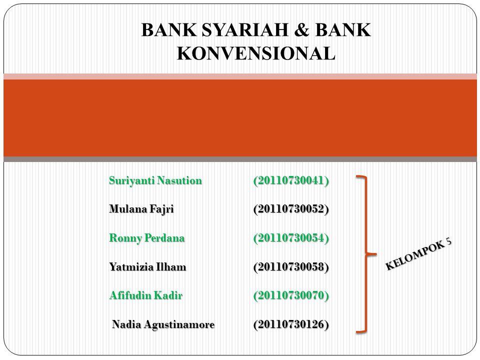 BANK SYARIAH & BANK KONVENSIONAL Suriyanti Nasution(20110730041) Mulana Fajri(20110730052) Ronny Perdana(20110730054) Yatmizia Ilham(20110730058) Afifudin Kadir(20110730070) Nadia Agustinamore(20110730126) Nadia Agustinamore(20110730126) KELOMPOK 5