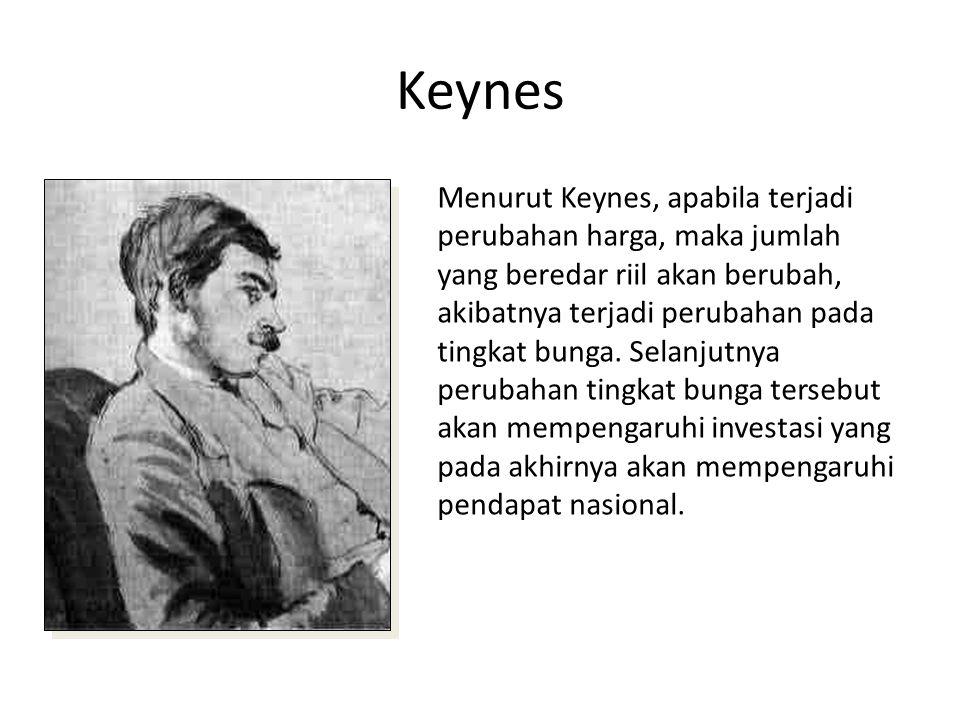 Keynes Menurut Keynes, apabila terjadi perubahan harga, maka jumlah yang beredar riil akan berubah, akibatnya terjadi perubahan pada tingkat bunga. Se