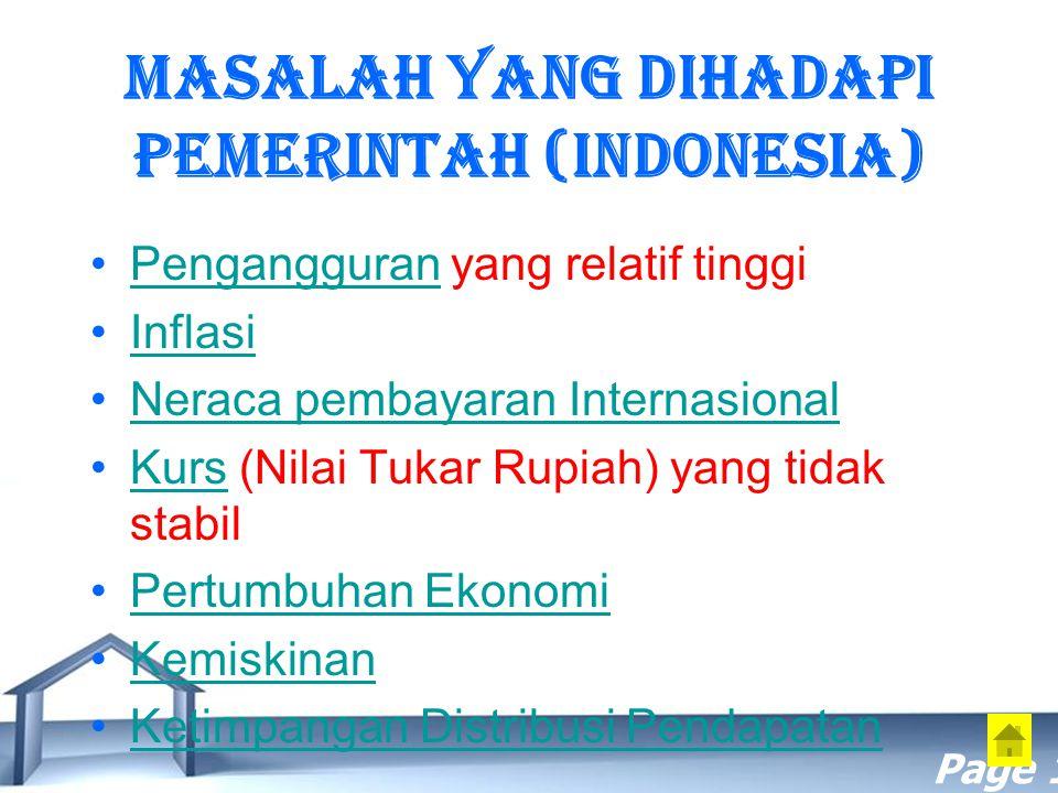 Free Powerpoint Templates Page 16 Masalah yang dihadapi Pemerintah (Indonesia) Pengangguran yang relatif tinggiPengangguran Inflasi Neraca pembayaran