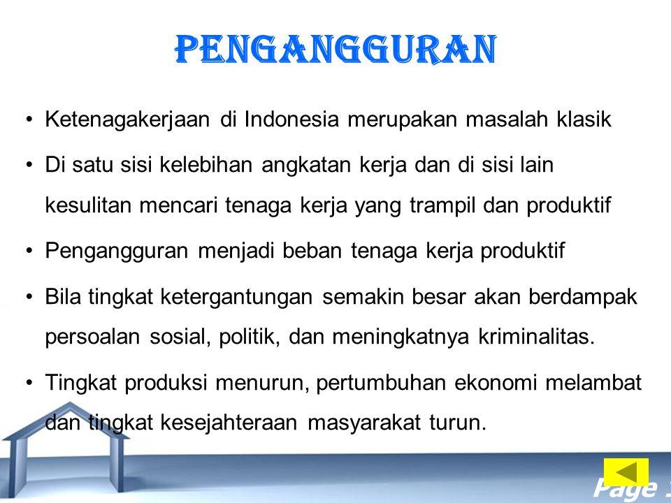 Free Powerpoint Templates Page 17 PENGANGGURAN Ketenagakerjaan di Indonesia merupakan masalah klasik Di satu sisi kelebihan angkatan kerja dan di sisi
