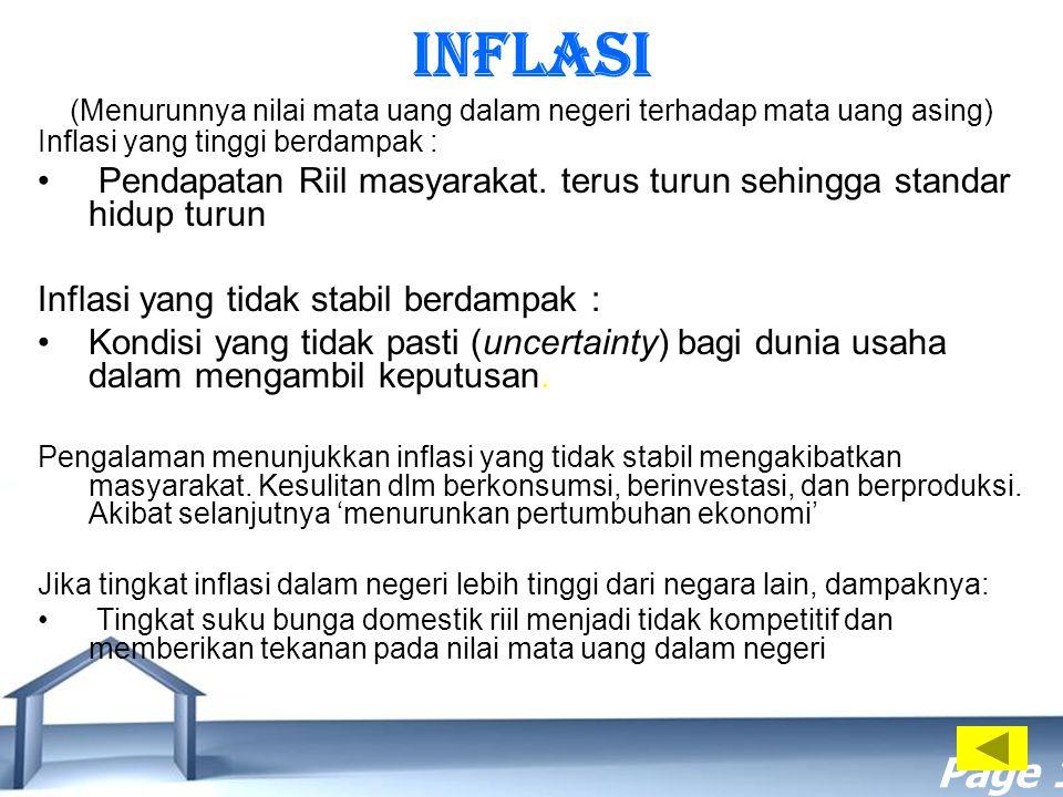 Free Powerpoint Templates Page 18 INFLASI (Menurunnya nilai mata uang dalam negeri terhadap mata uang asing) Inflasi yang tinggi berdampak : Pendapata