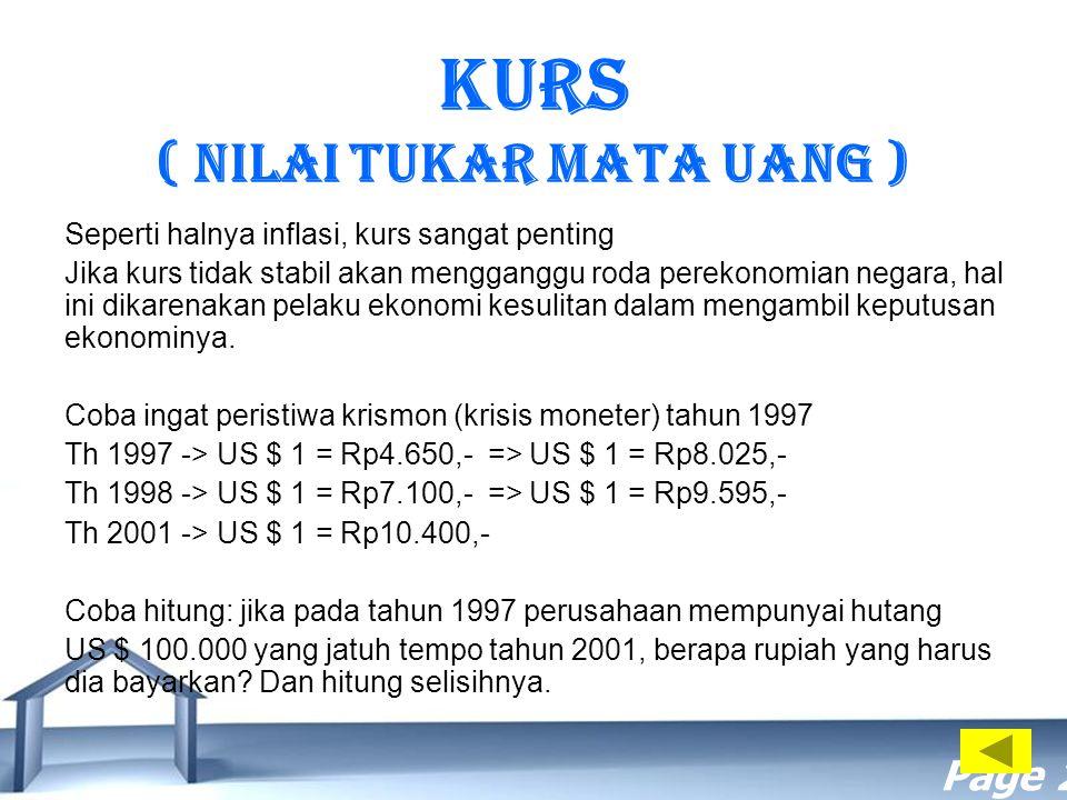 Free Powerpoint Templates Page 20 KURS ( Nilai Tukar Mata Uang ) Seperti halnya inflasi, kurs sangat penting Jika kurs tidak stabil akan mengganggu ro