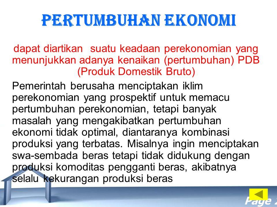Free Powerpoint Templates Page 21 Pertumbuhan Ekonomi dapat diartikan suatu keadaan perekonomian yang menunjukkan adanya kenaikan (pertumbuhan) PDB (P
