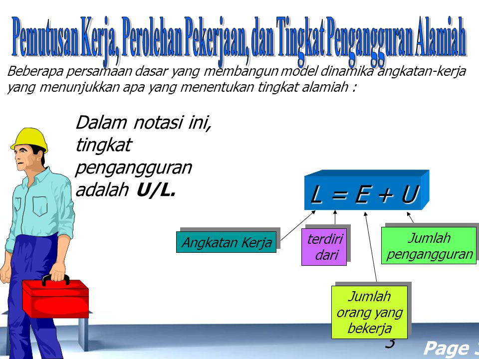 Free Powerpoint Templates Page 3 3 Dalam notasi ini, tingkat pengangguran adalah U/L. Beberapa persamaan dasar yang membangun model dinamika angkatan-