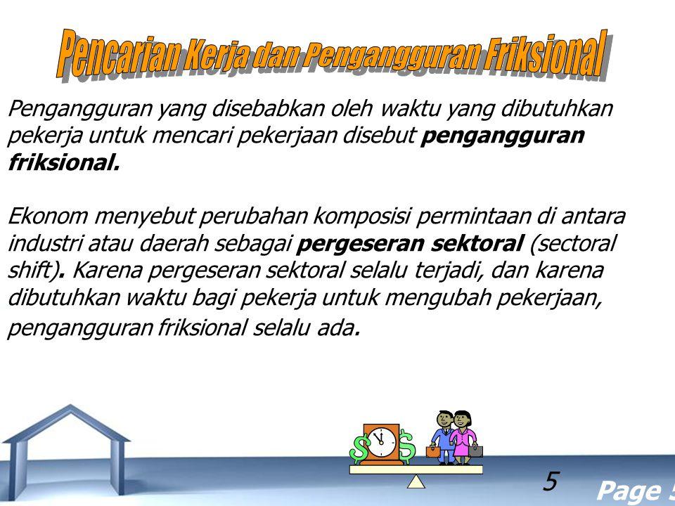 Free Powerpoint Templates Page 5 5 Pengangguran yang disebabkan oleh waktu yang dibutuhkan pekerja untuk mencari pekerjaan disebut pengangguran friksi