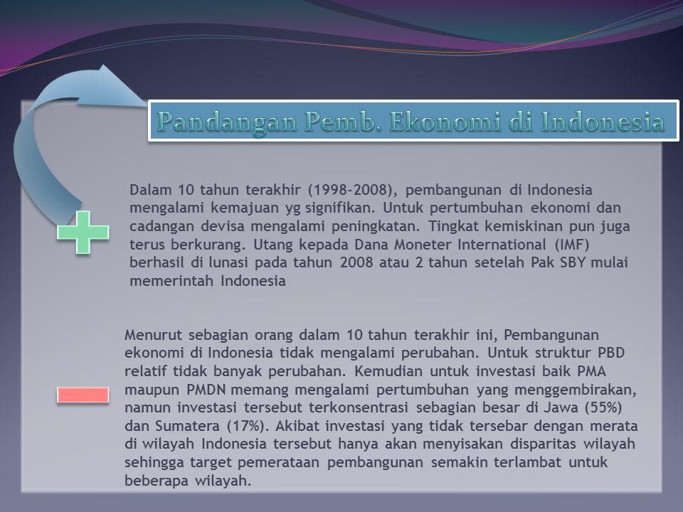 Dalam 10 tahun terakhir (1998-2008), pembangunan di Indonesia mengalami kemajuan yg signifikan.