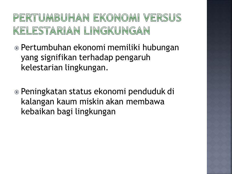  Pertumbuhan ekonomi memiliki hubungan yang signifikan terhadap pengaruh kelestarian lingkungan.  Peningkatan status ekonomi penduduk di kalangan ka