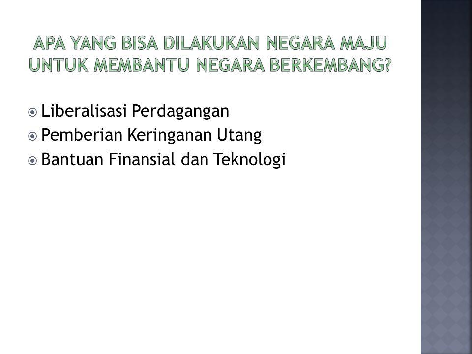  Liberalisasi Perdagangan  Pemberian Keringanan Utang  Bantuan Finansial dan Teknologi