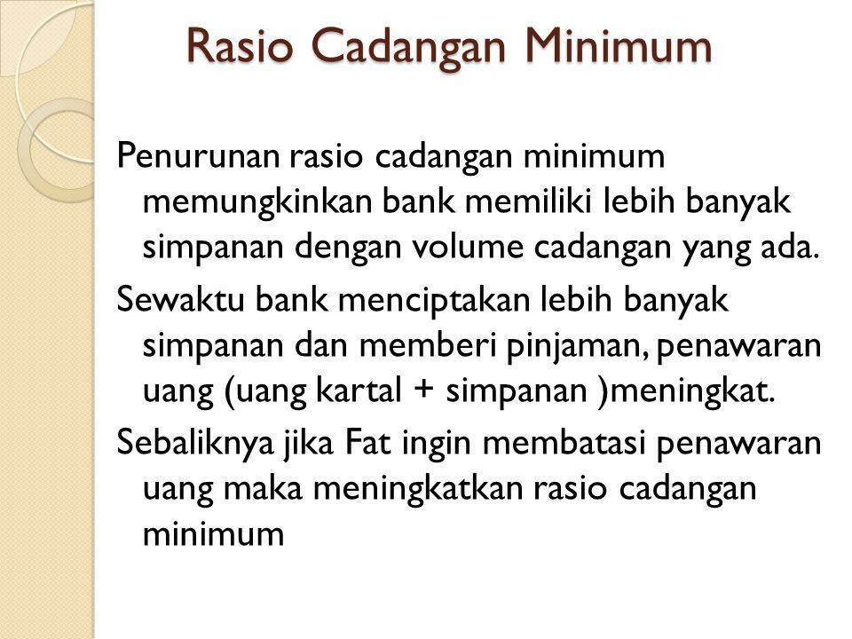 Rasio Cadangan Minimum Penurunan rasio cadangan minimum memungkinkan bank memiliki lebih banyak simpanan dengan volume cadangan yang ada. Sewaktu bank