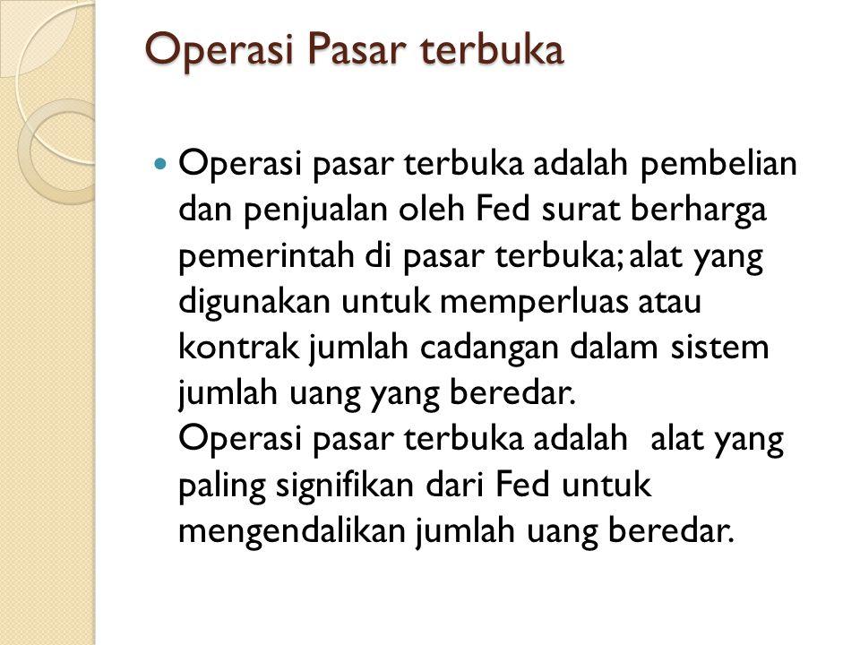 Operasi Pasar terbuka Operasi pasar terbuka adalah pembelian dan penjualan oleh Fed surat berharga pemerintah di pasar terbuka; alat yang digunakan un