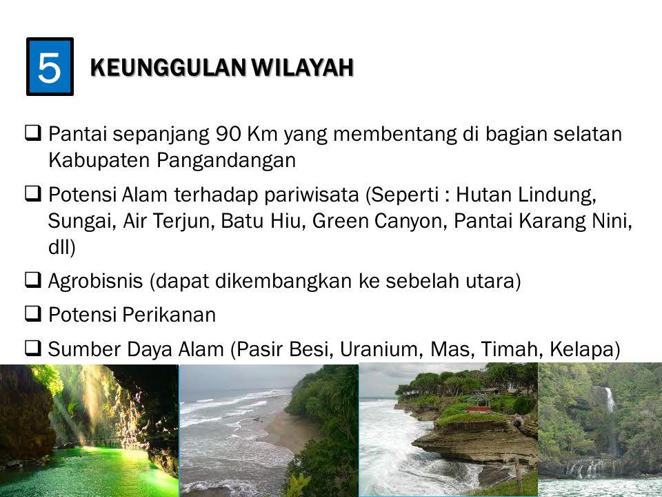 KEUNGGULAN WILAYAH  Pantai sepanjang 90 Km yang membentang di bagian selatan Kabupaten Pangandangan  Potensi Alam terhadap pariwisata (Seperti : Hut