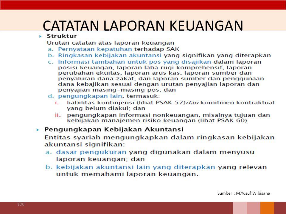 CATATAN LAPORAN KEUANGAN 100 Sumber : M.Yusuf Wibisana