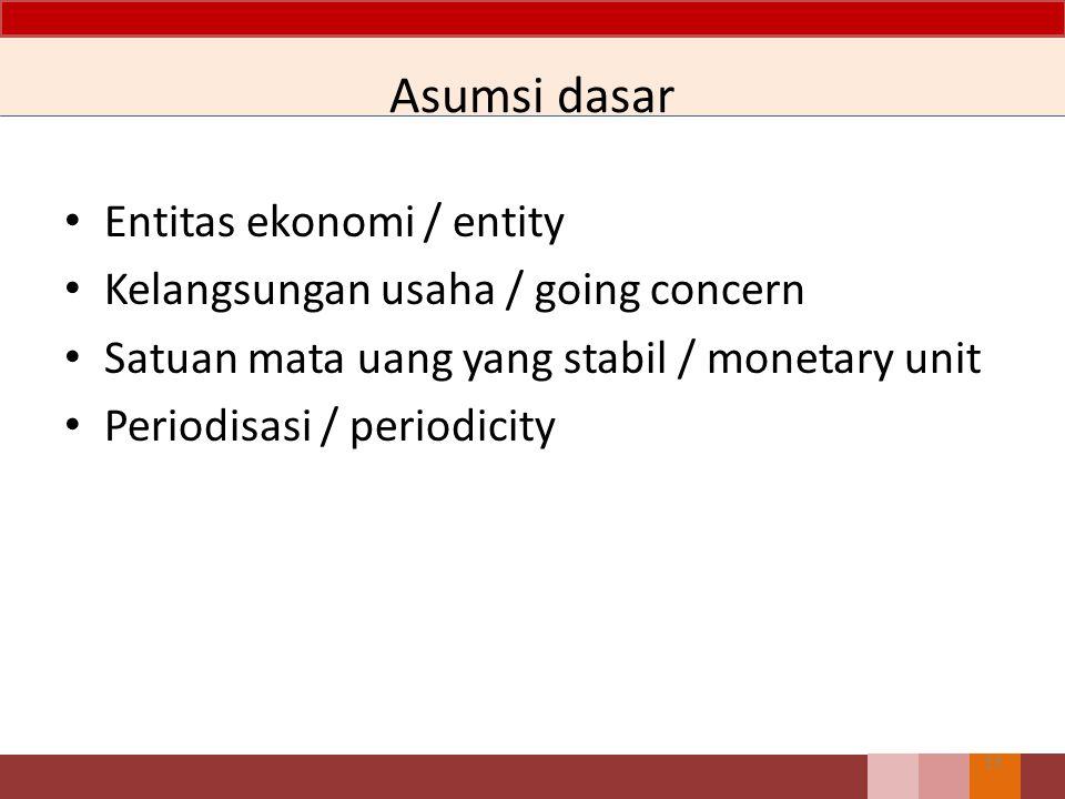 Asumsi dasar Entitas ekonomi / entity Kelangsungan usaha / going concern Satuan mata uang yang stabil / monetary unit Periodisasi / periodicity 13