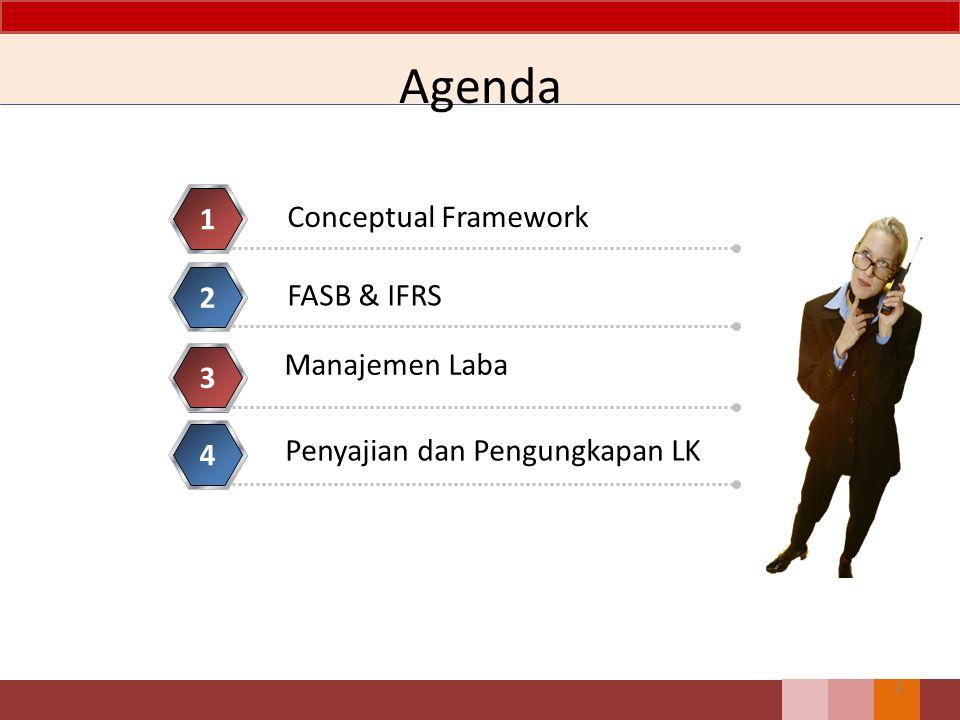 Agenda 2 Conceptual Framework 1 FASB & IFRS 2 Penyajian dan Pengungkapan LK 3 4 Manajemen Laba
