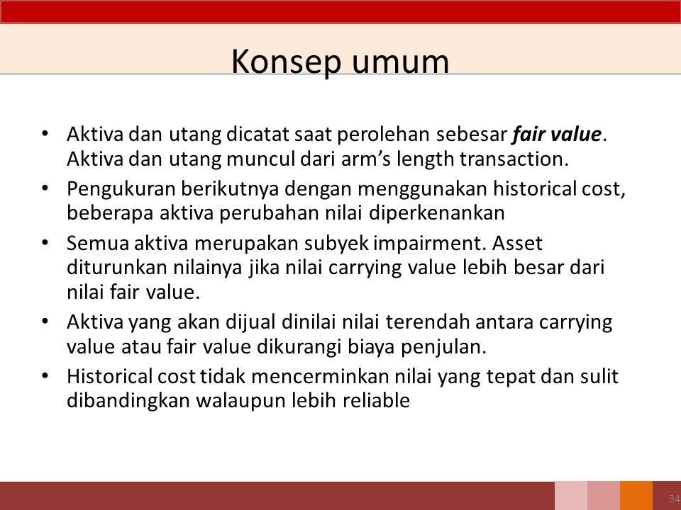 34 Konsep umum Aktiva dan utang dicatat saat perolehan sebesar fair value.