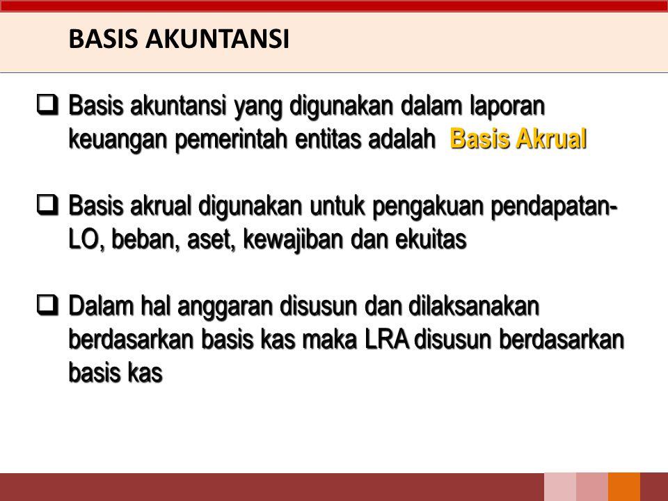 BASIS AKUNTANSI  Basis akuntansi yang digunakan dalam laporan keuangan pemerintah entitas adalah Basis Akrual  Basis akrual digunakan untuk pengakuan pendapatan- LO, beban, aset, kewajiban dan ekuitas  Dalam hal anggaran disusun dan dilaksanakan berdasarkan basis kas maka LRA disusun berdasarkan basis kas