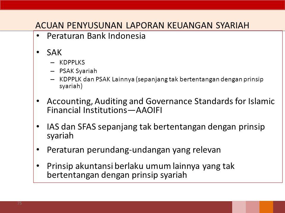 ACUAN PENYUSUNAN LAPORAN KEUANGAN SYARIAH Peraturan Bank Indonesia SAK – KDPPLKS – PSAK Syariah – KDPPLK dan PSAK Lainnya (sepanjang tak bertentangan dengan prinsip syariah) Accounting, Auditing and Governance Standards for Islamic Financial Institutions—AAOIFI IAS dan SFAS sepanjang tak bertentangan dengan prinsip syariah Peraturan perundang-undangan yang relevan Prinsip akuntansi berlaku umum lainnya yang tak bertentangan dengan prinsip syariah 75