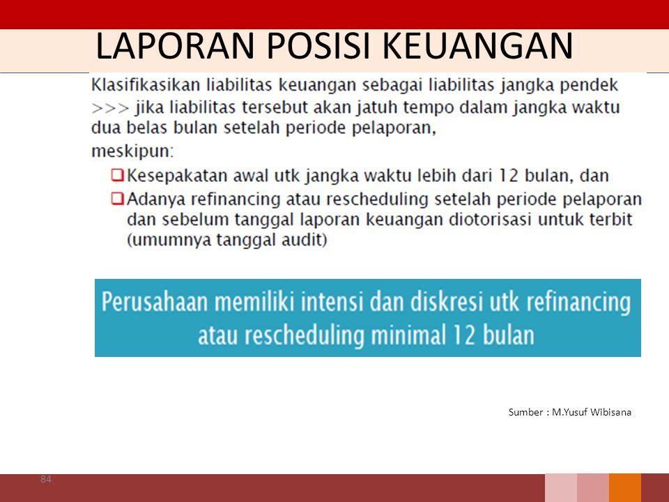 LAPORAN POSISI KEUANGAN 84 Sumber : M.Yusuf Wibisana