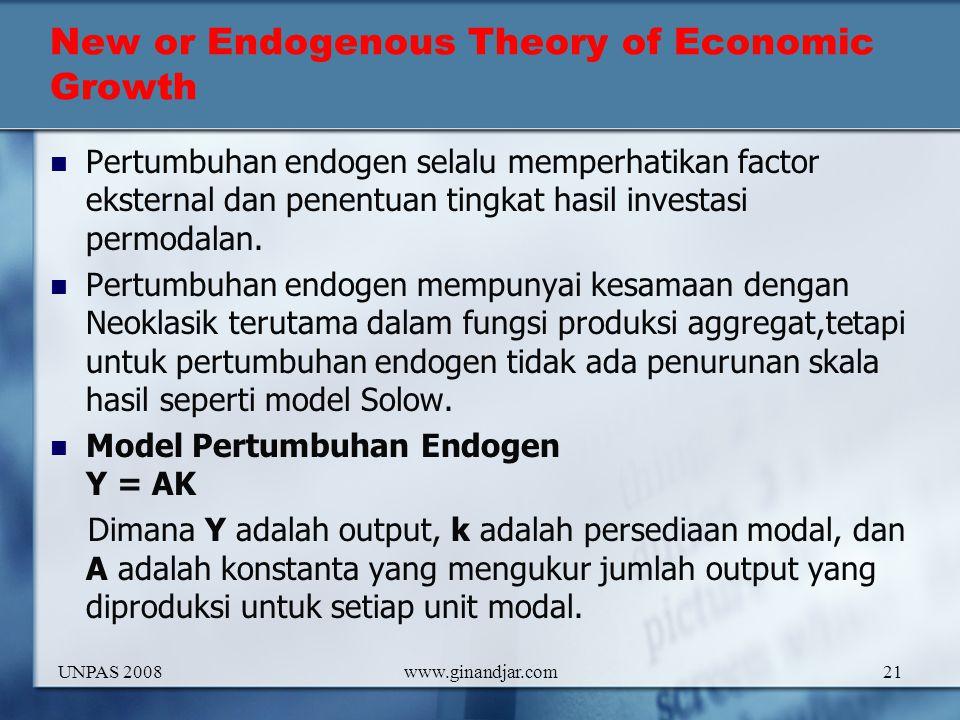 New or Endogenous Theory of Economic Growth Pertumbuhan endogen selalu memperhatikan factor eksternal dan penentuan tingkat hasil investasi permodalan.