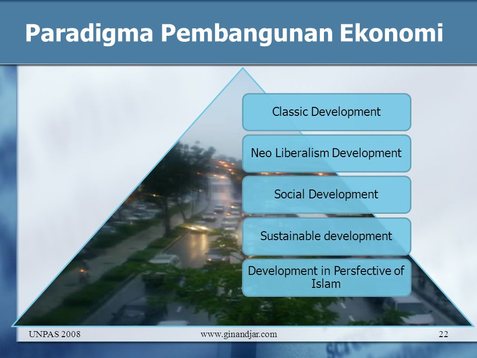 Paradigma Pembangunan Ekonomi Classic DevelopmentNeo Liberalism DevelopmentSocial DevelopmentSustainable development Development in Persfective of Islam UNPAS 2008www.ginandjar.com22