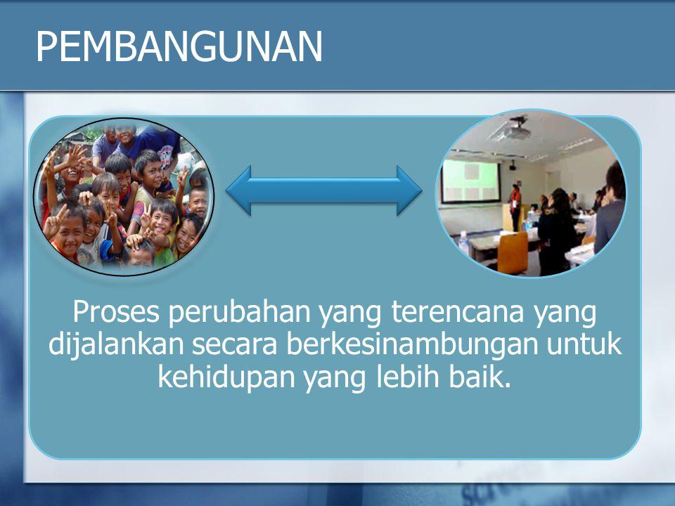 PEMBANGUNAN Proses perubahan yang terencana yang dijalankan secara berkesinambungan untuk kehidupan yang lebih baik.