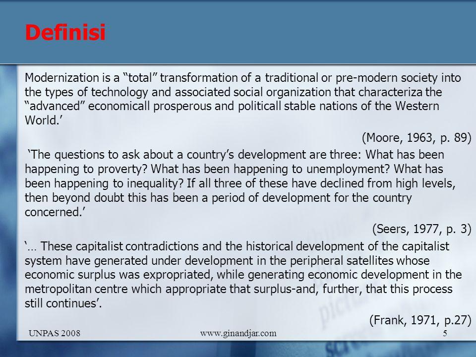6 Awalnya pembangunan dimaknai sebagai usaha meningkatkan pendapatan per kapita, atau populer disebut strategi pertumbuhan ekonomi.