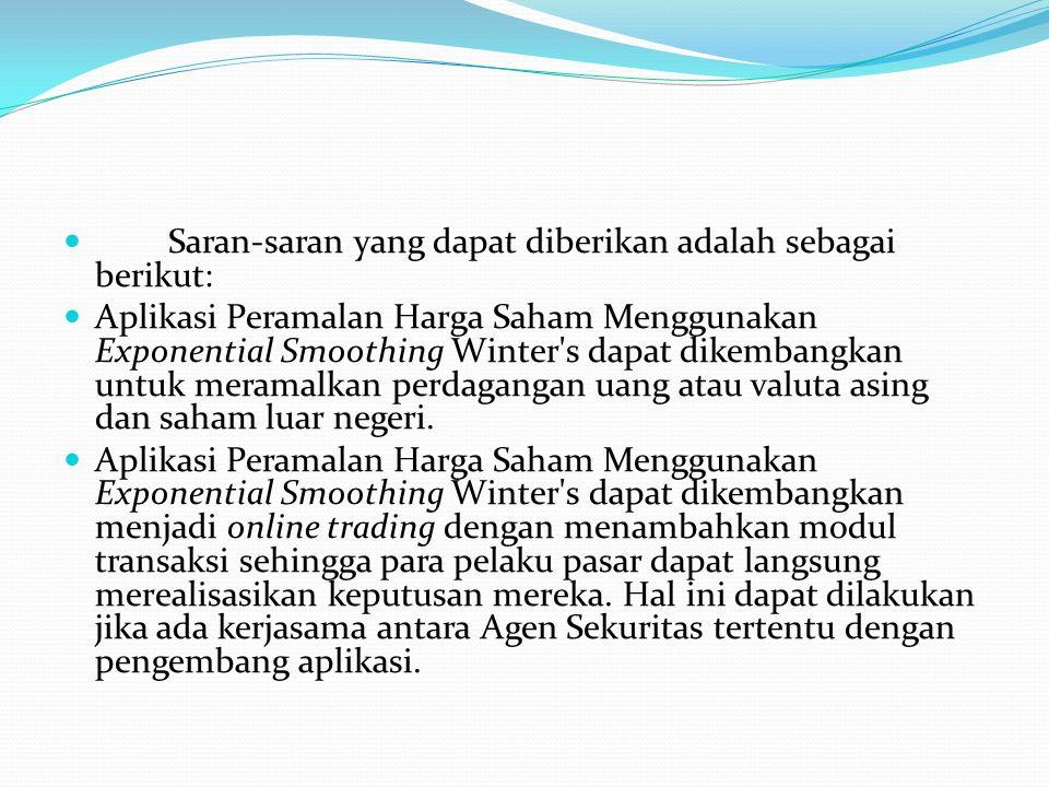 Saran-saran yang dapat diberikan adalah sebagai berikut: Aplikasi Peramalan Harga Saham Menggunakan Exponential Smoothing Winter's dapat dikembangkan