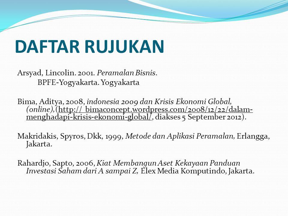 DAFTAR RUJUKAN Arsyad, Lincolin. 2001. Peramalan Bisnis. BPFE-Yogyakarta. Yogyakarta Bima, Aditya, 2008, indonesia 2009 dan Krisis Ekonomi Global, (on