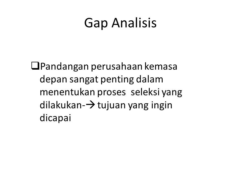 Gap Analisis  Pandangan perusahaan kemasa depan sangat penting dalam menentukan proses seleksi yang dilakukan-  tujuan yang ingin dicapai