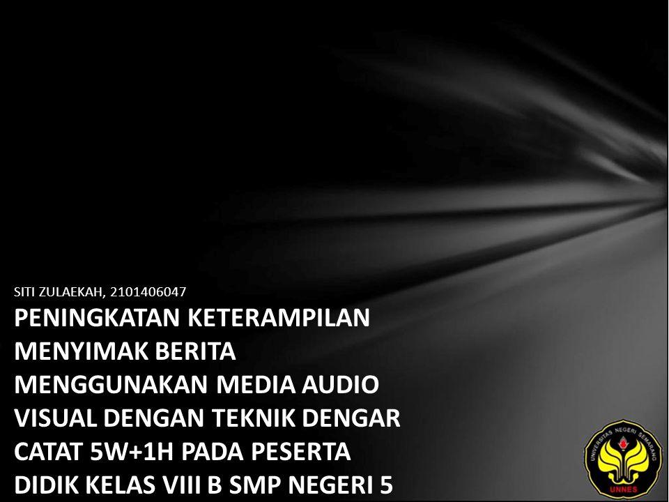 Identitas Mahasiswa - NAMA : SITI ZULAEKAH - NIM : 2101406047 - PRODI : Pendidikan Bahasa, Sastra Indonesia, dan Daerah (Pendidikan Bahasa dan Sastra Indonesia) - JURUSAN : Bahasa & Sastra Indonesia - FAKULTAS : Bahasa dan Seni - EMAIL : zulaika_xiis2 pada domain yahoo.com - PEMBIMBING 1 : Drs.Haryadi,M.Pd.