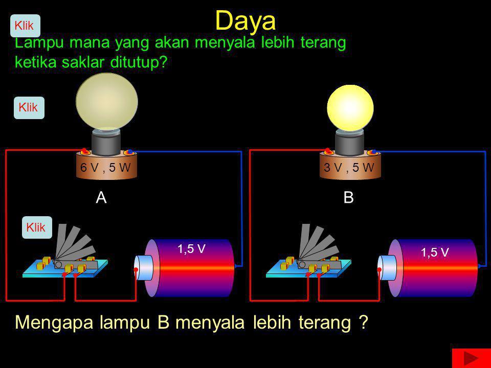 Daya Lampu mana yang akan menyala lebih terang ketika saklar ditutup? 6 V, 5 W3 V, 5 W 1,5 V AB Klik Mengapa lampu B menyala lebih terang ?