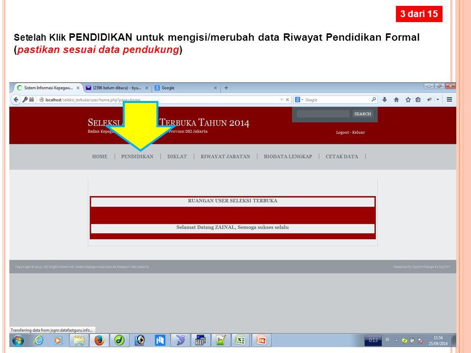 2 dari 15 Setelah Klik Login Peserta atau Login User, akan tampil layar berikut … Silahkan masukan NRK dan PASSWORD (sesuai yang dicatat pada Slide 4